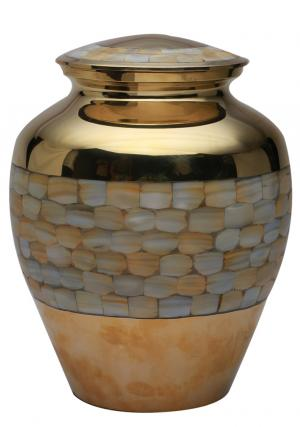 "Elite Mother of Pearl Urn for Memorials 7"" Inches"