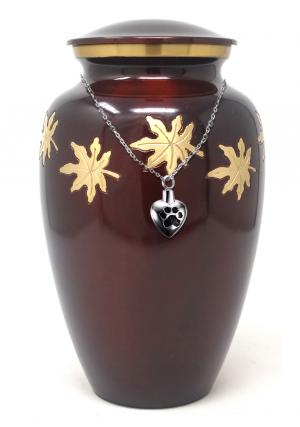 Adult Falling Leaves Cremation Urn for Ashes+ Free jewellery Urn