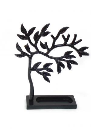 Aluminium Black Black Powder Coated Tree Jewelry Stand with MDF Base