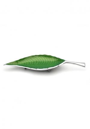 Aluminium Green Leaf Shaped Serving Tray