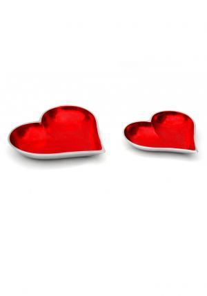 Aluminium Heart Shaped ServingTray Set of 2