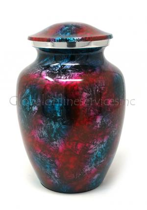 Aluminium Patriotic Shimmer Medium Cremation Urn for Ashes.