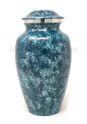 Aluminium Sliver Blue Large Cremation Urn for Ashes