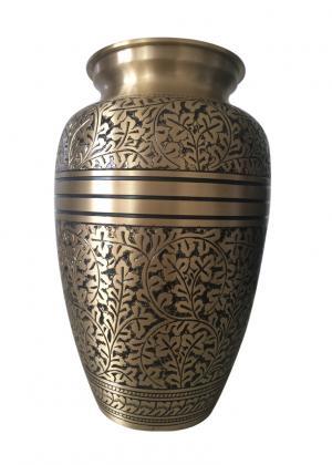 Antique Engraved Brass Adult Urn
