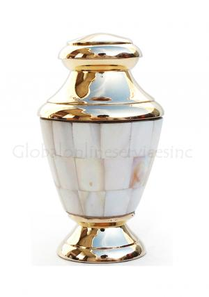 Artisan Mother of Pearl Keepsake Cremation Urn