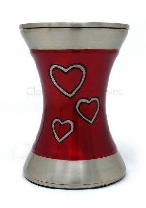 Beautiful Medium Brass Loving Hearts Tealight Cremation Urn For Human Ashes