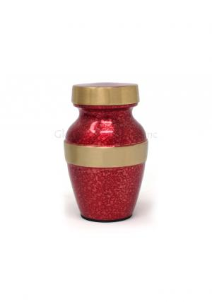 Beautiful Red With Gold Band Keepsake Cremation Urn for Human Ashes Brand