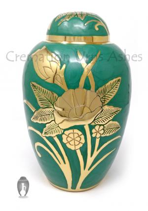 Big Dome Top Green Floral Adult Memorial Urn for Ashes