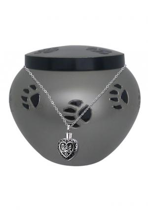 Black Band Odyssey Pewter Urn For Pet Memorial+ Free jewellery Urn
