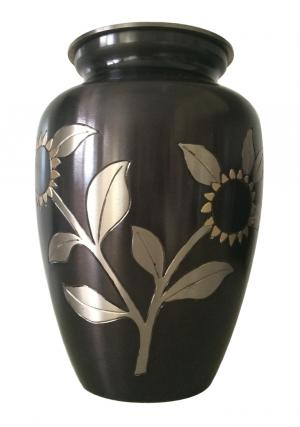 Black Pewter Sunflower Brass Adult Urn