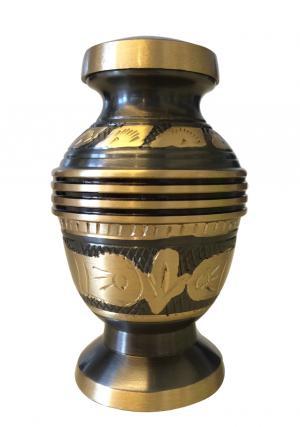 Black & Gold Engraved Floral Keepsake Urn