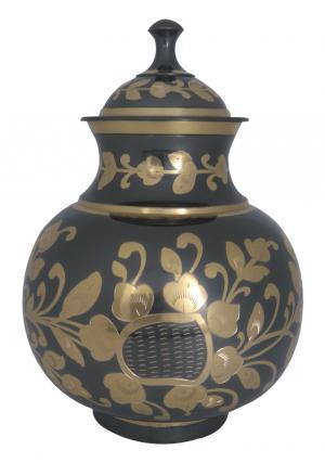 Black & Golden Floral Human Adult Memorial Urn Ashes