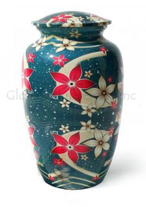 Blue Floral Brass Large Cremation Urn for Human Ashes