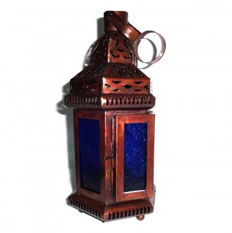 Set of 8 Blue Glass Moroccan-Style Hanging Lantern
