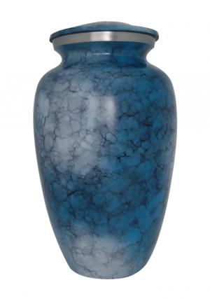 Blue Iris Aluminium Large Adult Urn For Ashes