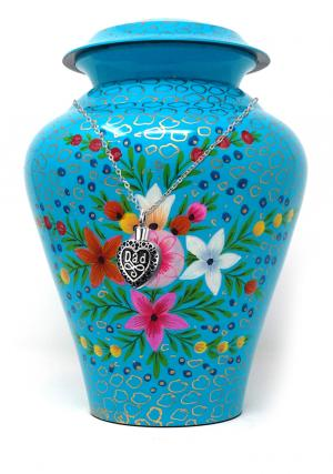 Blue Meadow Flowers Brass Cremation Urn for Ashes+ Free jewellery Urn