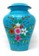 Blue Meadow Flowers Brass Cremation Urn for Ashes