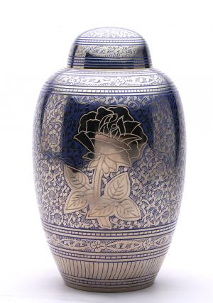 Blue Rose Large Adult Funeral Urn for Human Ashes, Brass Urn