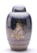 Blue Rose Large Adult Funeral Urn for Human Ashes, Brass Urn
