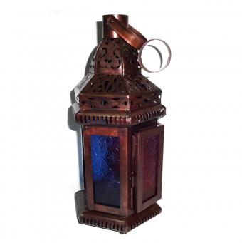 Set of 4 Blue & Red Glass Moroccan Lantern
