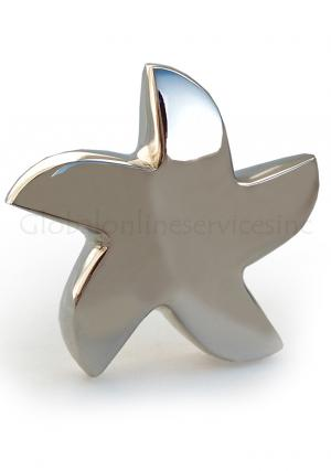 Bright Silver Star Keepsake Urn for Human Ashes