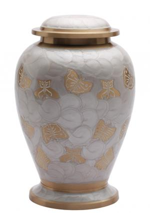 Butterflies Pearl White Adult Memorial Urn for Ashes