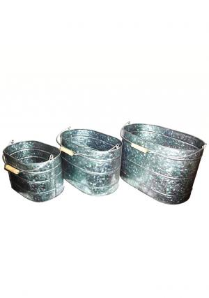 Buy Pack of 3 Galvanised Trough Bucket Wooden Handles, Galvanised Buckets and Bowls