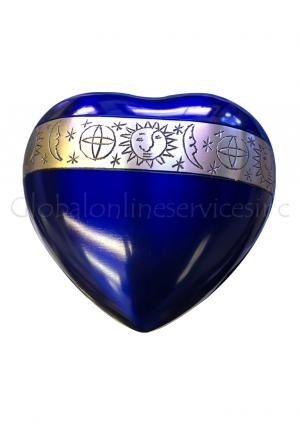Cambridge Blue Heart Keepsake Urn with Stand