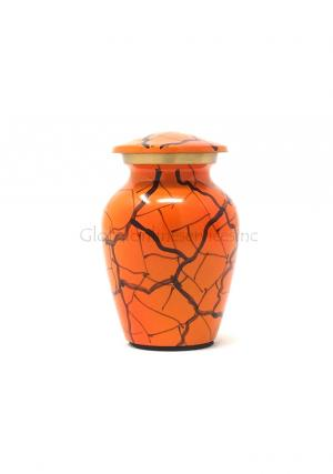 Classic Orange Mini Cremation Brass Urn for Human Ashes