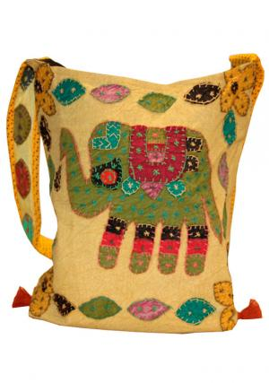Cotton Design Handmade Embroidered Women Handbag - Lemon Yellow Color