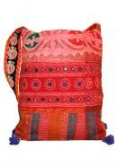 Cotton Design Handmade Embroidered Women Handbag, Shoulder bag  - Pink & Red Color