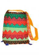 Cotton Design Handmade Embroidered Women Shopping Handbag - Yellow Color