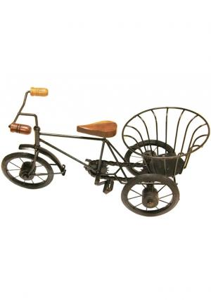 Decorative Iron & Wood Cycle Showpiece with Three wheels