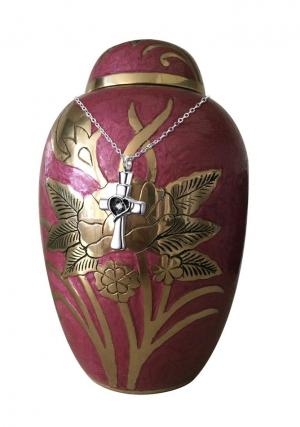 Dome Top Embossed Adult Urn + FREE Pendant Jewellery Urn