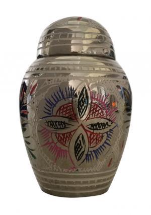 Dome Top Flower Brass Keepsake Urn