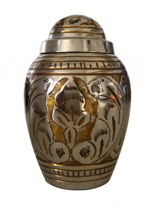 Dome Top Gold Color Leaf Keepsake Urn