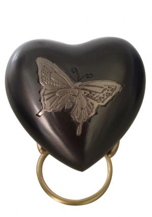 Butterfly Pewter Heart Keepsake Urn with Stand