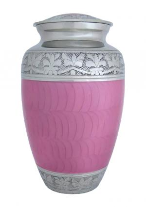 Elegant Pink Enamel And Nickel Adult Cremation Urn Ashes