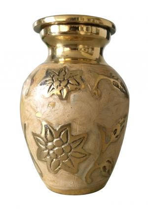 Engraved Gold Leaf Keepsake Urn for Ashes