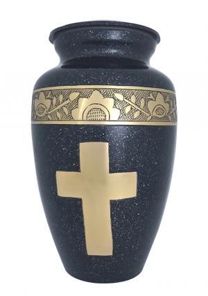Engraved Golden Cross Black Adult Urn For Human Ashes
