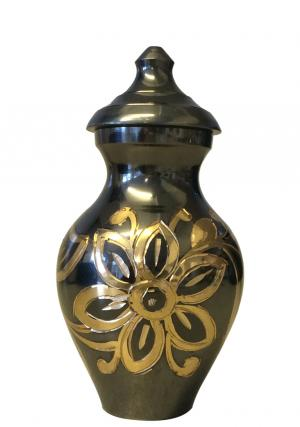 Flower Engraved Black And Gold Small Sized Urn