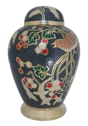 Flower Garden Black Large Adult Cremation Urn UK