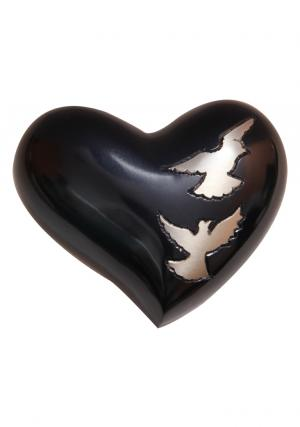 Flying Doves Black Small Heart Keepsake Urn