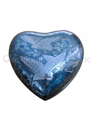 Flying Doves Blue Heart Keepsake Urn