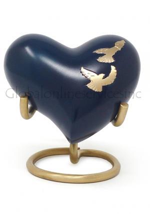 Flying Doves Mini Heart Keepsake Urn
