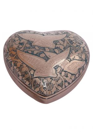 Small Urn' Going Home Doves Green Heart Keepsake Urn Ashes