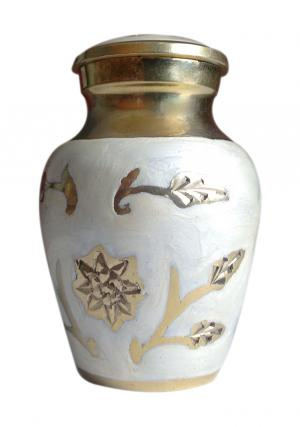 Gold Color Leaf Small Keepsake Funeral Cremation Urn