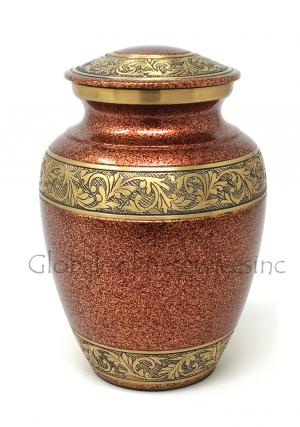 Gold Engraved Brass Floral Medium Urn for Funeral Human Ashes.