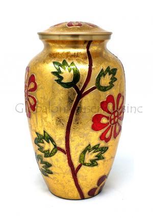 Gold & Orange Floral Adult Cremation Urn