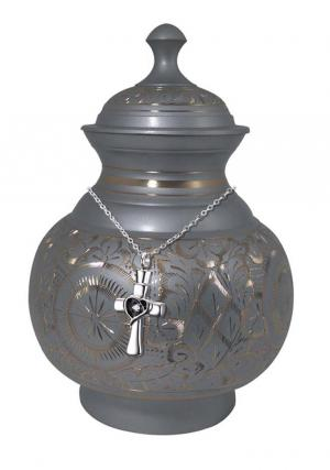 Gold and Silver Engraved Pointed Top Big Adult Cremation Urn + FREE Pendant Jewellery Urn